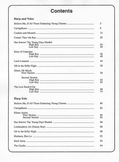 Favorite Folk Songs Volume I Index